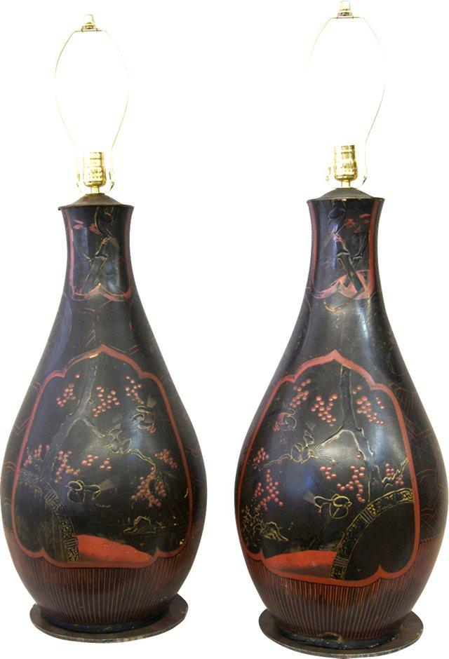 Large Red & Black Lamps, Pair