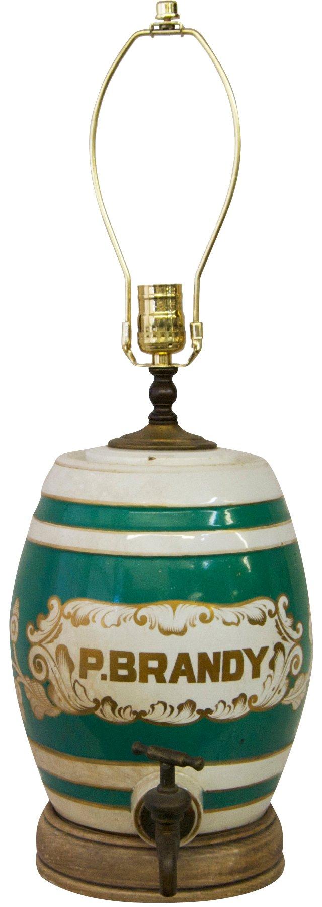 19th-C. English Brandy Jug Lamp