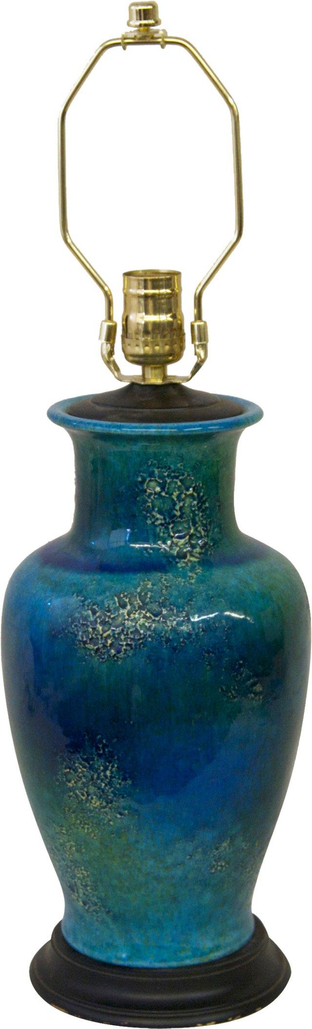 Volcanic-Glazed Blue-Green Lamp