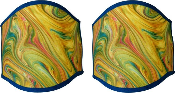 Marble Paper Half Shades, Pair