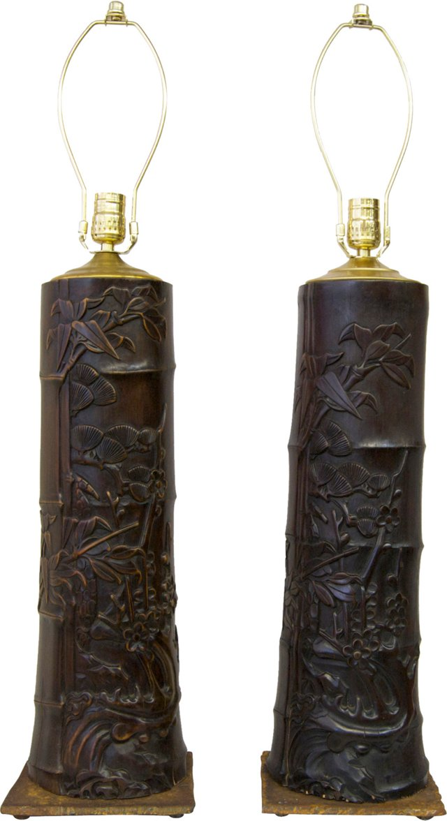 Carved Bamboo Lamps, Pair