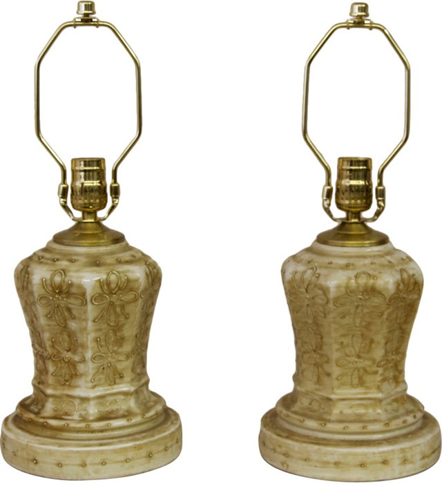 Decorated Glass Lamps, Pair
