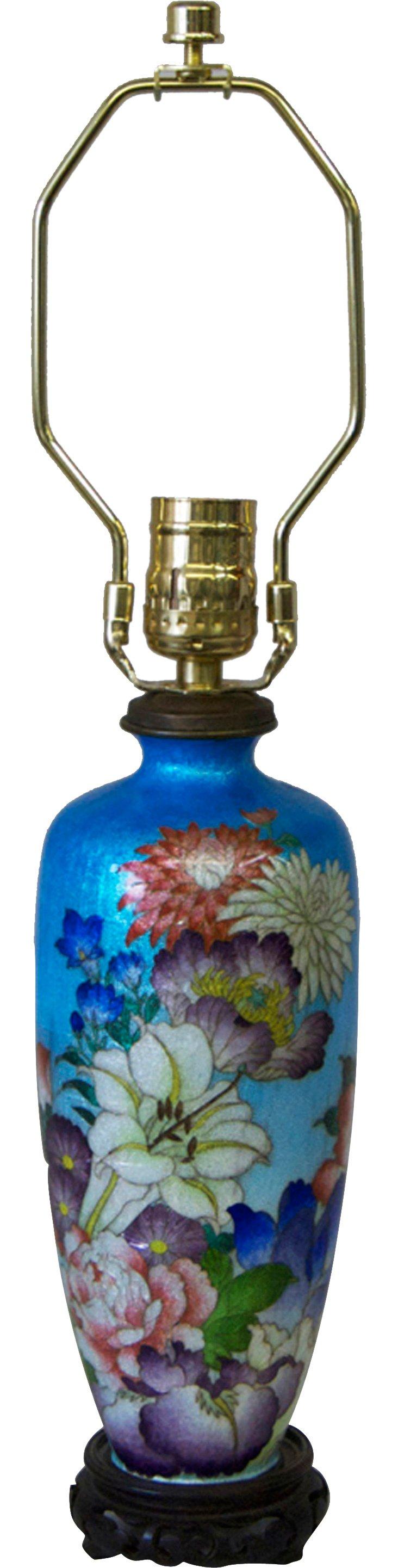 Bright Floral Cloisonné Lamp
