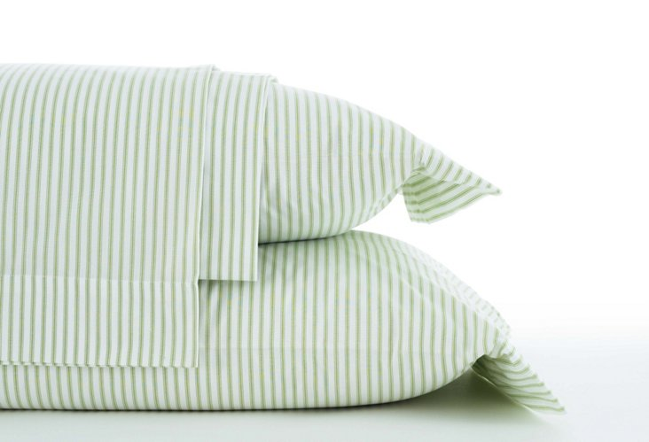 Ticking Sheet Set, Green