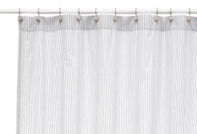 Ticking Shower Curtain, Navy