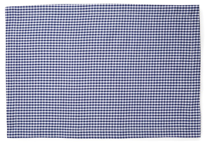 S/4 Mini Check Place Mats, Navy
