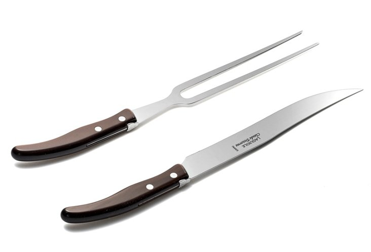 2-Pc Carving Set, Brown