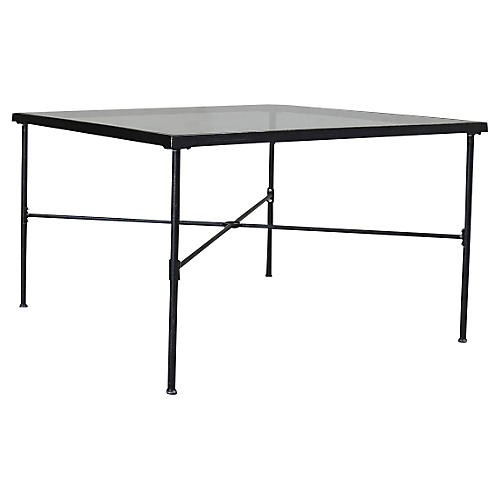 "Povence 44"" Umbrella Hole Dining Tabe, Rich Pewter"