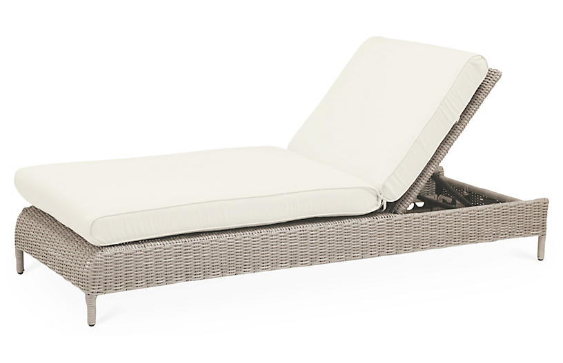 Maye Outdoor Chaise, Natural Sunbrella
