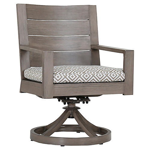 Laguna Swivel Armchair, Tan/White