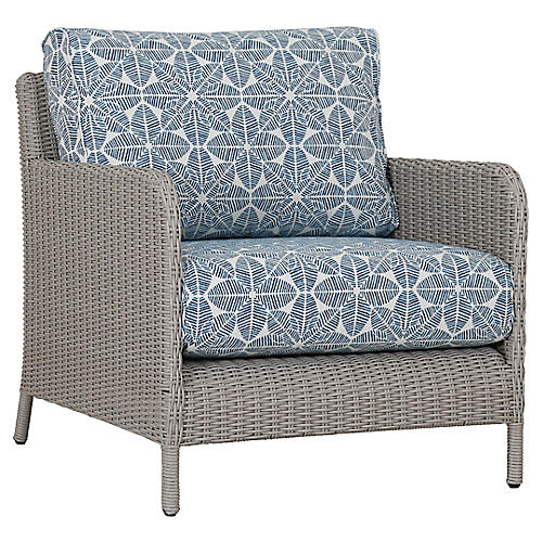 Manhattan Club Chair, Ivory/Blue