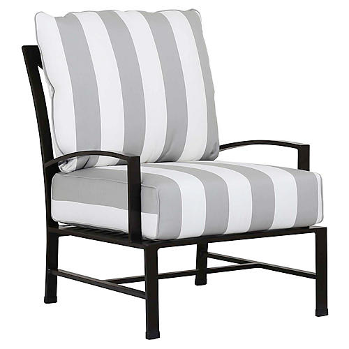 La Jolla Club Chair, Gray/White