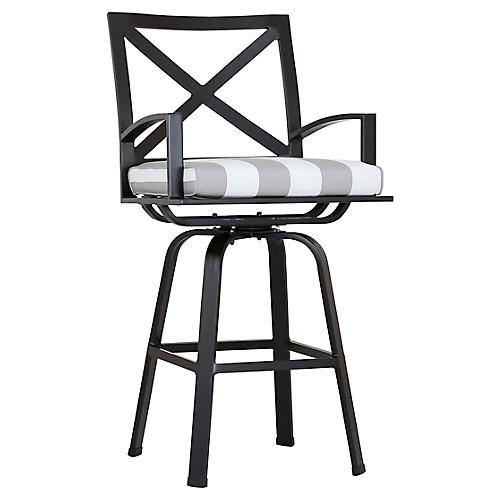 La Jolla Swivel Barstool, Gray/White
