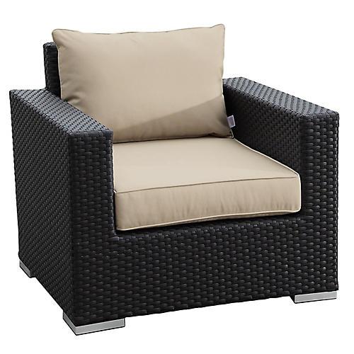 Solana Outdoor Club Chair, Ivory Sunbrella