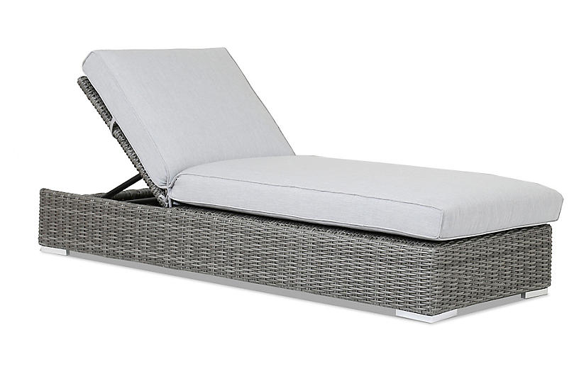 Emerald II Outdoor Chaise Lounge, Gray Sunbrella