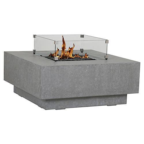 Gravelstone Square Fire Table, Gray
