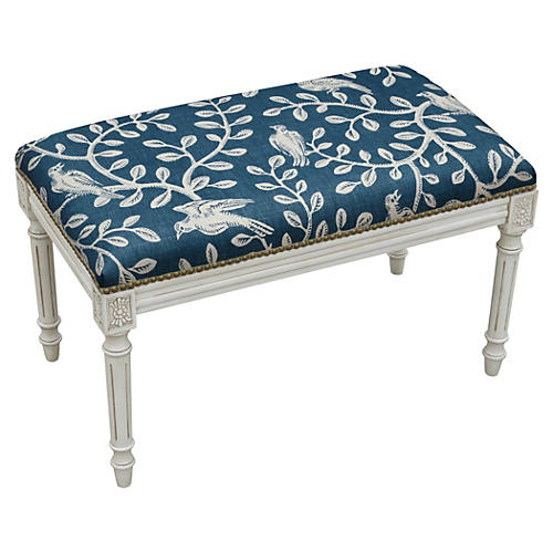 "Ollie 32"" Bench, Blue Vines"
