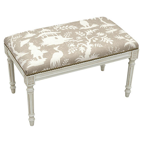 "Ollie 32"" Bench, Light Taupe Chinoiserie"