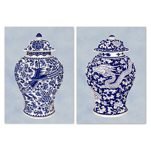Blue & White Ceramics II, Set of 2
