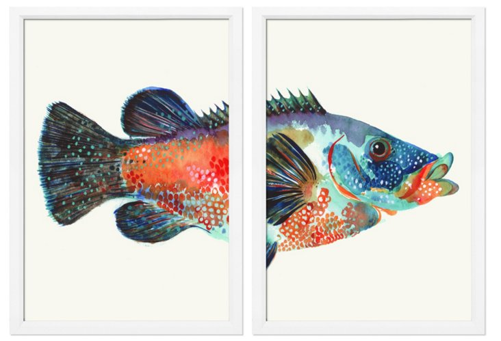 New England Fish I Diptych