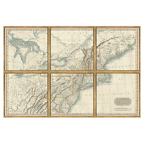North America Six-Piece Map Map