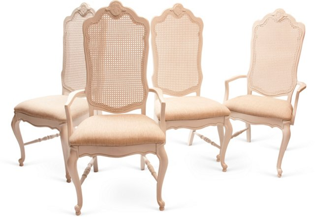 Cane-Back Dining Chairs, Set of 4