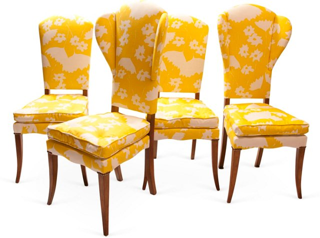 Yellow Dining Chairs, Set of 4