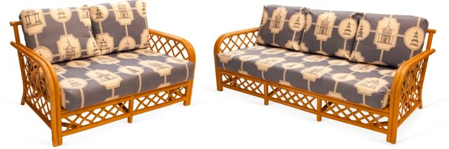 Rattan Sofa & Loveseat Set