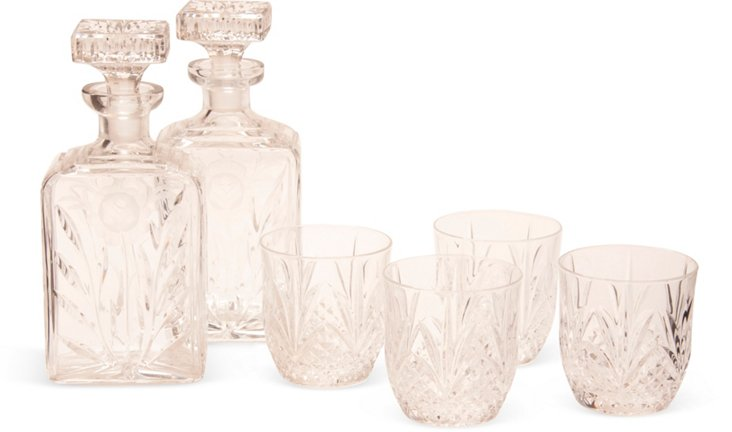 2 Crystal Decanters & 4 Glasses
