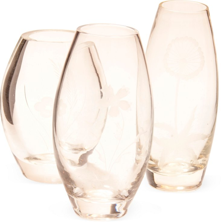 Etched Glass Vases, Set of 3