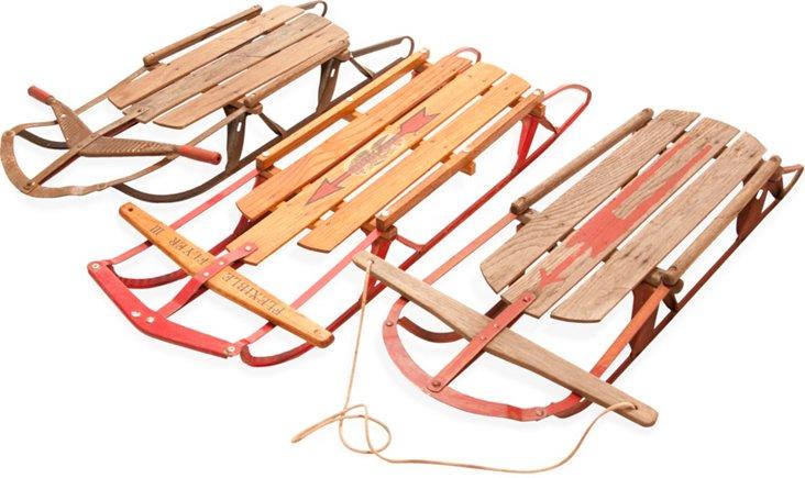 Vintage Sleds, Set of 3
