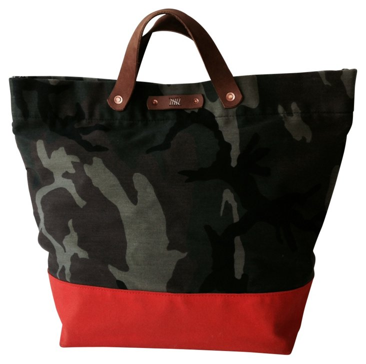 Leather Trim Van Zandt Tote, Camo/Red