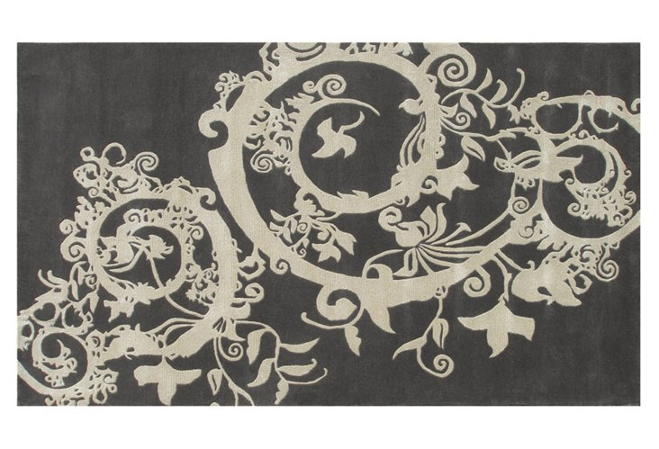 Faywood Rug, Charcoal/Ivory