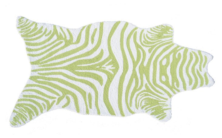 """2'8""""x4'8"""" Mini Zebra Rug, Lime/White"""