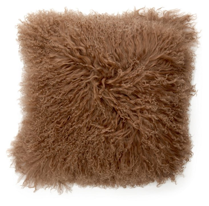 16x16 Lamb Fur Pillow, Brown