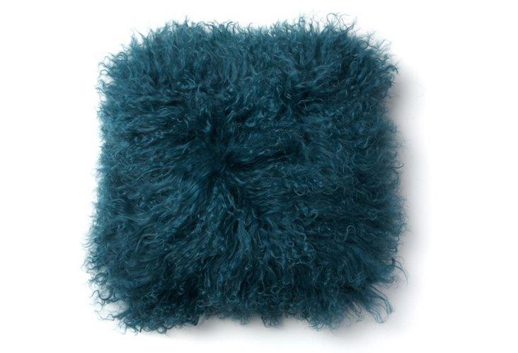 Mongolian 16x16 Lamb Pillow, Deep Teal