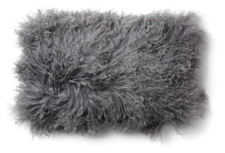 Mongolian Lamb 12x20 Pillow, Frost Gray