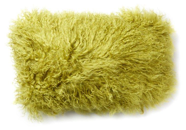 Mongolian 12x20 Lamb Pillow, Green