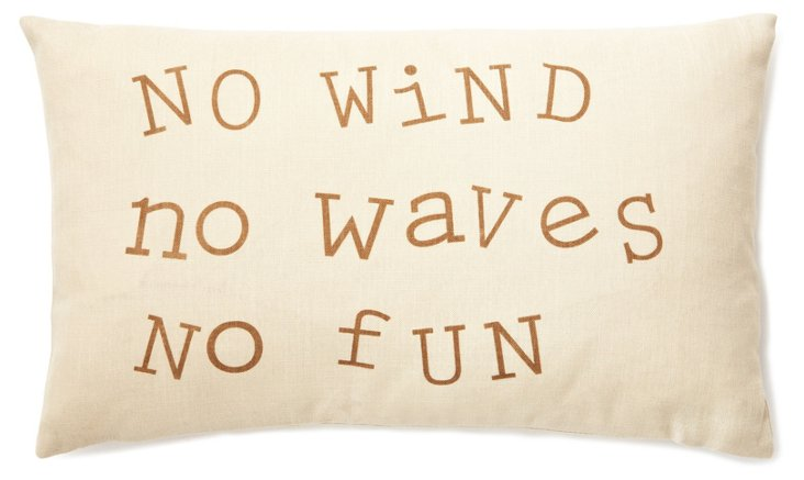 """""""No Waves"""" 12x20 Pillow, Taupe"""