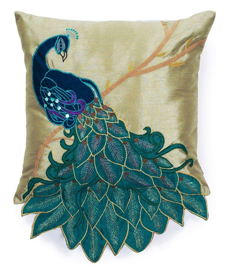 Peacock 16x16 Pillow, Teal