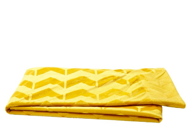 Brushed Chevron Throw, Lemon Curry