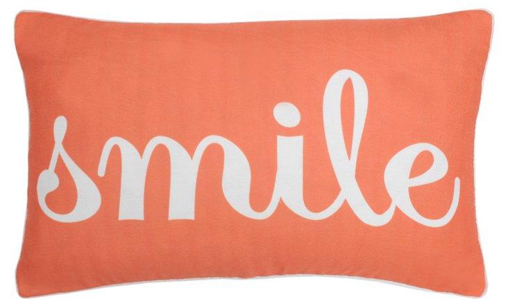 """Smile"" 12x20 Pillow, Burnt Orange"