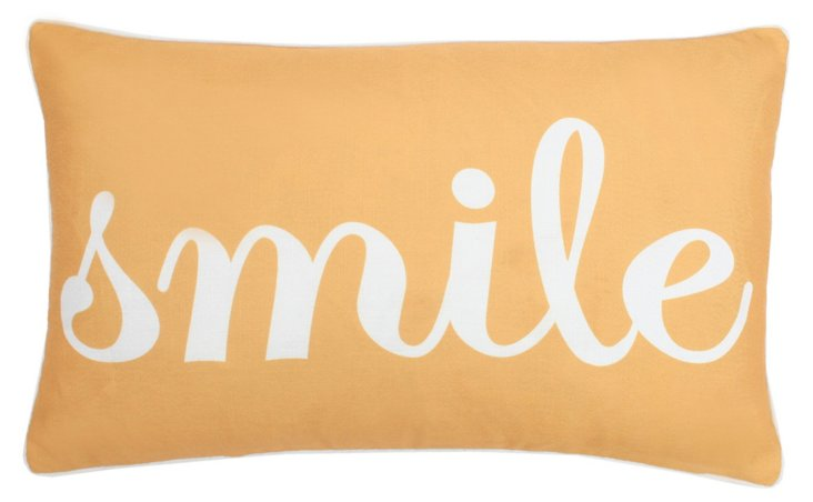 """Smile"" 12x20 Pillow, Yellow"
