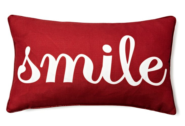"""""""Smile"""" 12x20 Pillow, Red"""