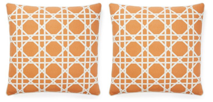Cane 20x20 Pillow, Burnt Orange