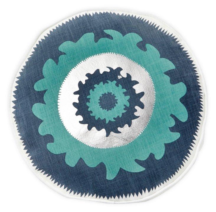 Suzani Round Pillow, Blue