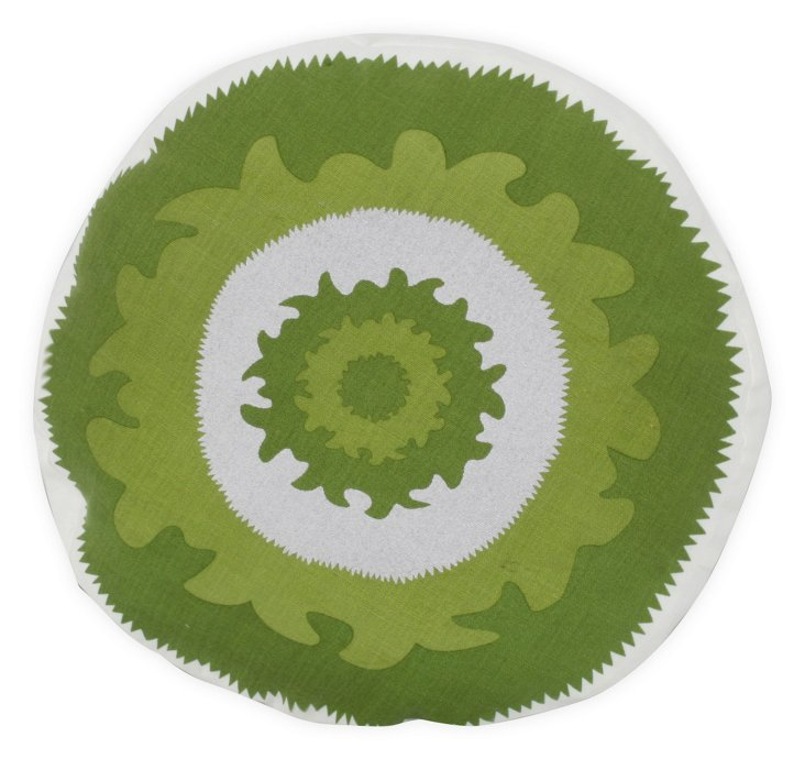 Suzani Round Pillow, Green
