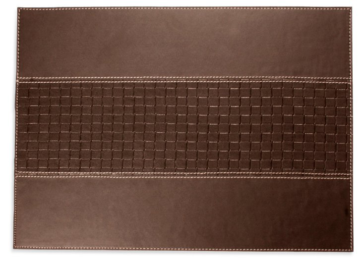 S/4 Braided Leather Place Mats, Brown