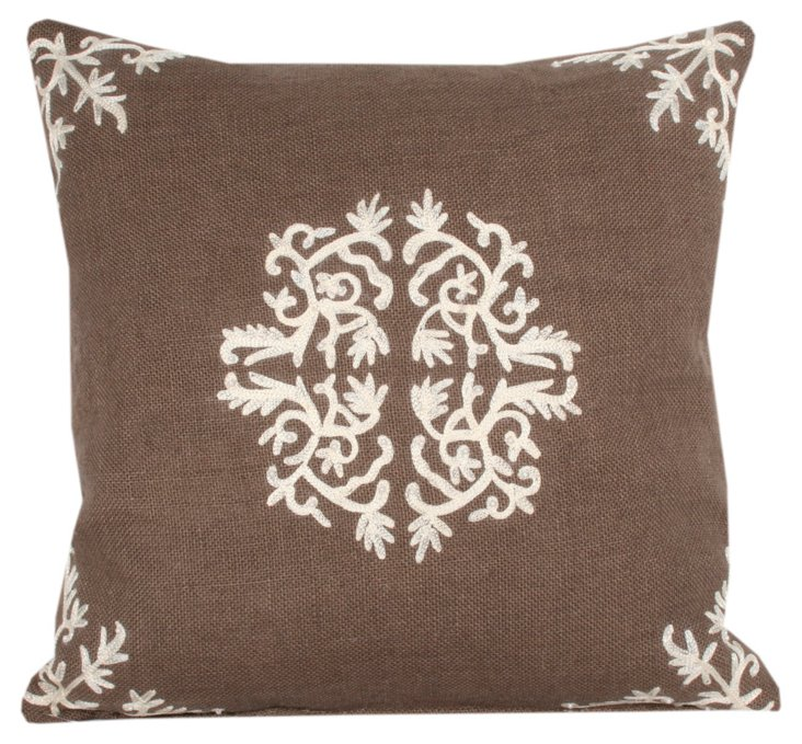 Antonia 18x18 Embroidered Pillow, Taupe