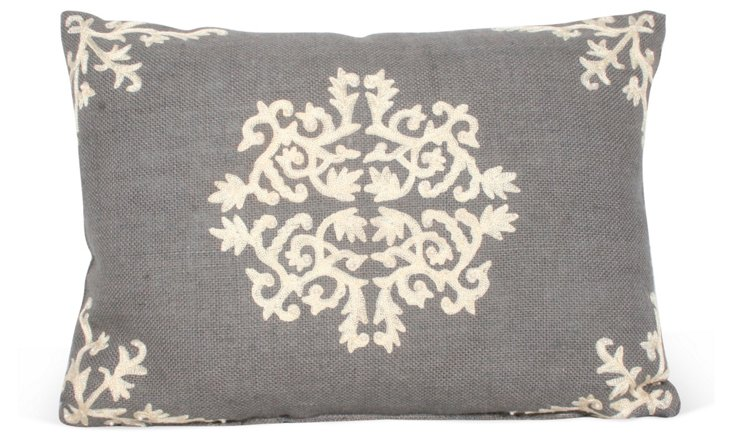 Antonia 13x18 Embroidered Pillow, Gray